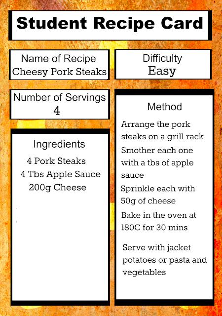 Free Printable Student Recipe Card: Easy Cheesy Pork Steaks