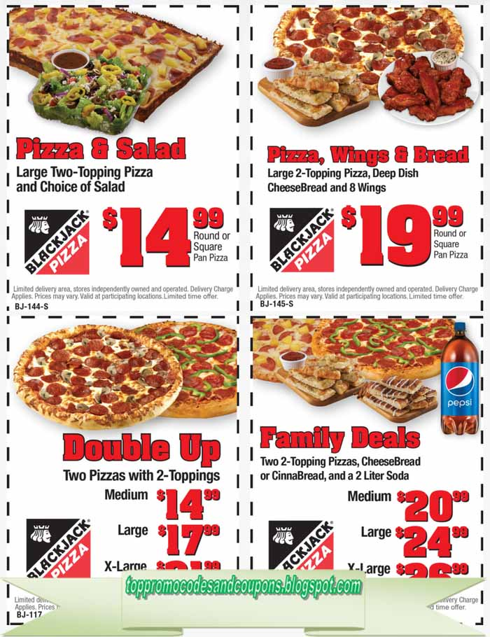 Free Promo Codes And Coupons 2019 Black Jack Pizza Coupons