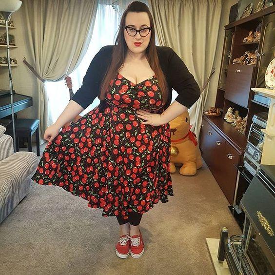 Collectif Cherry Print Dolores Dress  plus size