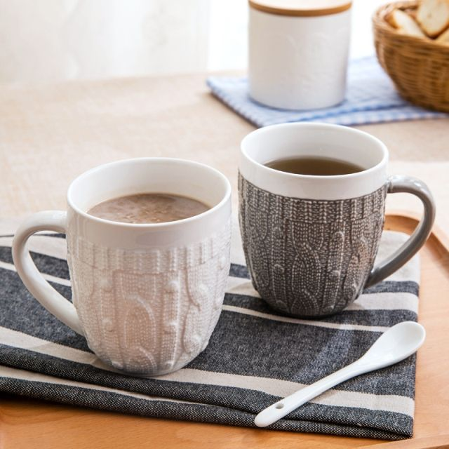 Coffee mugs with sweaters