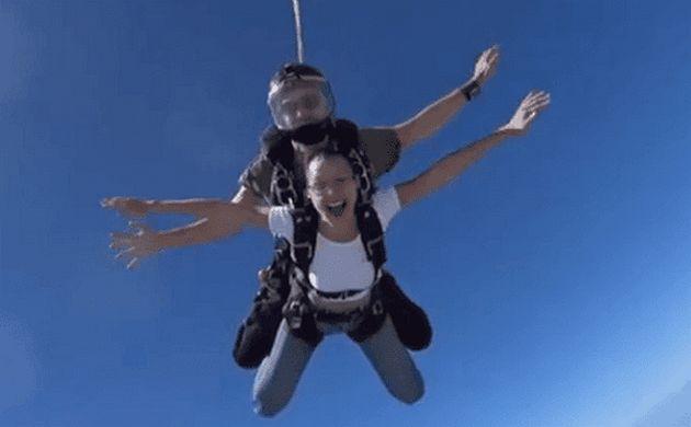Bella Hadid Tandem Skydiving in Dubai