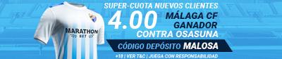 Marathonbet Malaga gana Osasuna supercuota 4 nuevos clientes 19 agosto