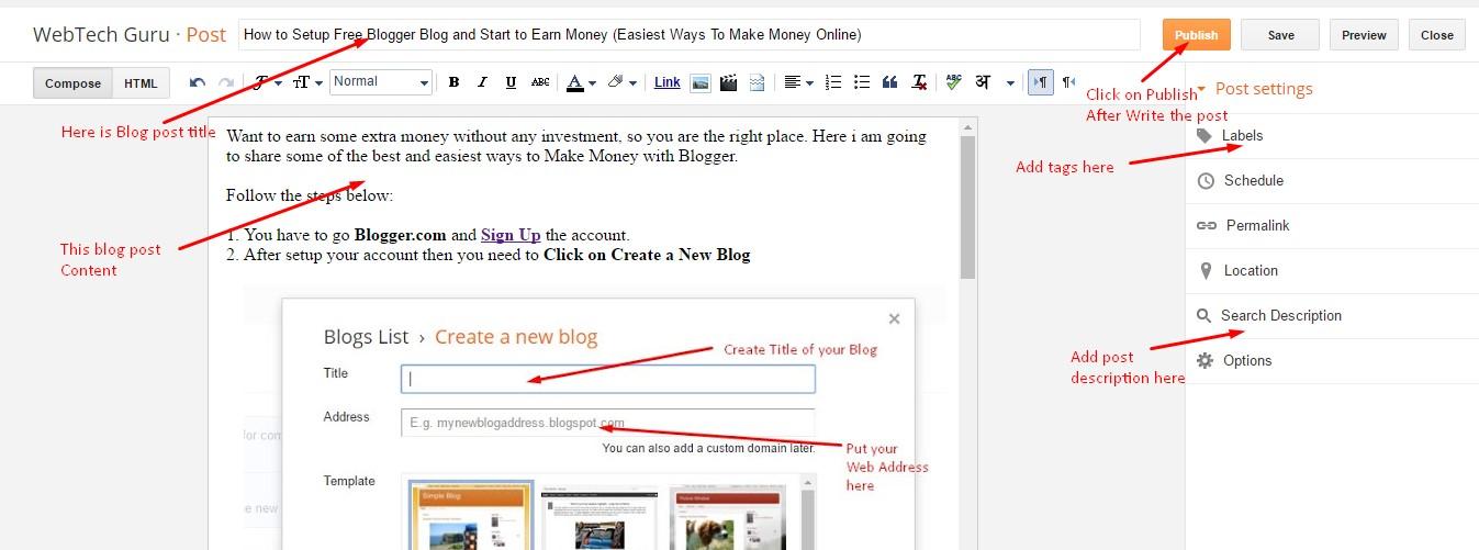 how to setup a blog site and make money