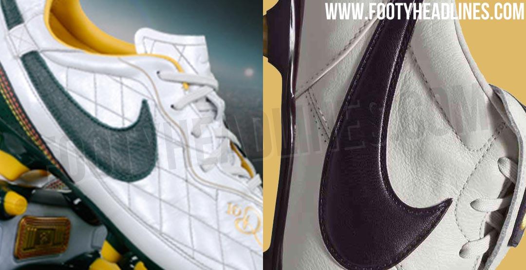 4e0ad328123 Awesome Ronaldinho-Inspired Light Bone   Navy   Gold Nike Premier II 2019-20  Boots Leaked