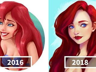 Artista compara suas ilustrações para mostrar o que dois anos de pratica podem fazer