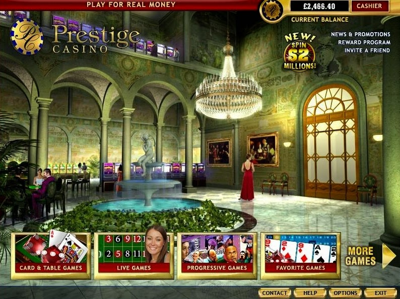 Prestige Casino Home Screen
