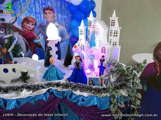 Decoração festa de aniversário infantil Frozen - Mesa temática