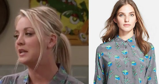 Kaley Cuoco As Penny In Grey Floral Print Blouse On The Big Bang