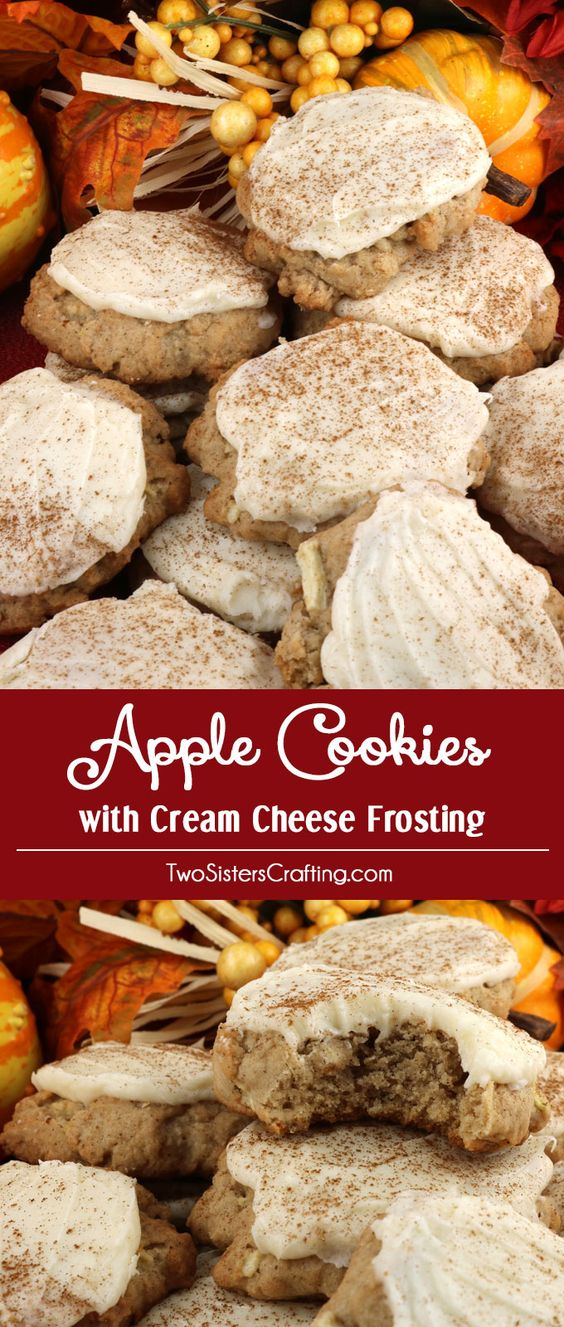 Apples and cinnamon combine in light, fluffy and delicious Apple Cookies with Cream Cheese Frosting that is a true family favorite.