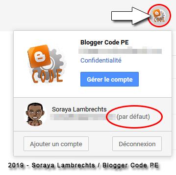 Multi-connexion Blogger, le compte actif au-delà de l'interface Blogger est toujours le 1er compte ou le compte par défaut.