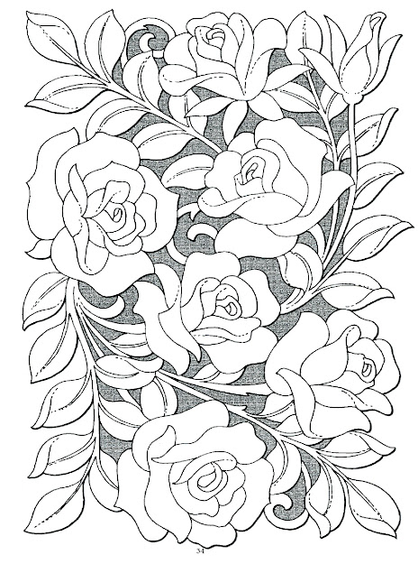 Rose Bouquet Coloring Page For Adults