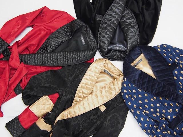 mens smoking jackets velvet quilted silk 19th century traditional warm robe bespoke tailored gentleman victorian dressing gown