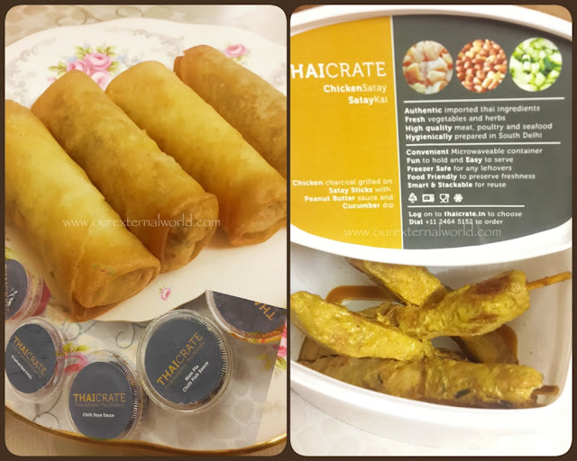 ThaiCrate - Home Delivery Review, food review, food blogger, spring rolls, chicken satay