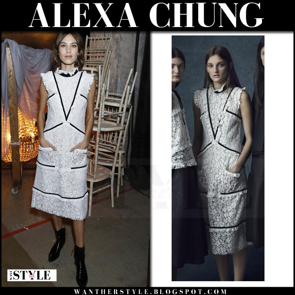 Alexa Chung in white lace midi dress erdem front row what she wore