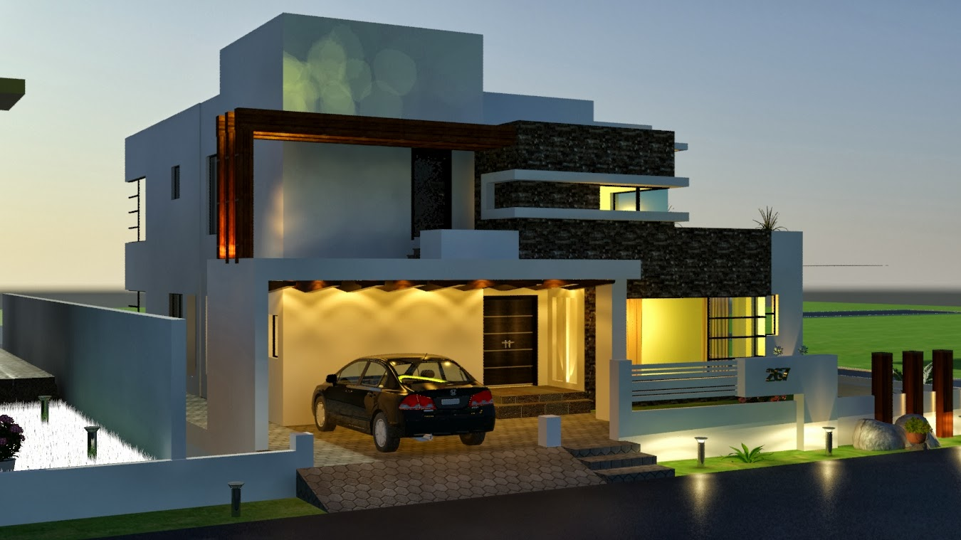 3-D Modern domestic front elevation - e2 Homes, Inc.- Award Winning Custom ....Com: 1 - Front Elevation Modern House