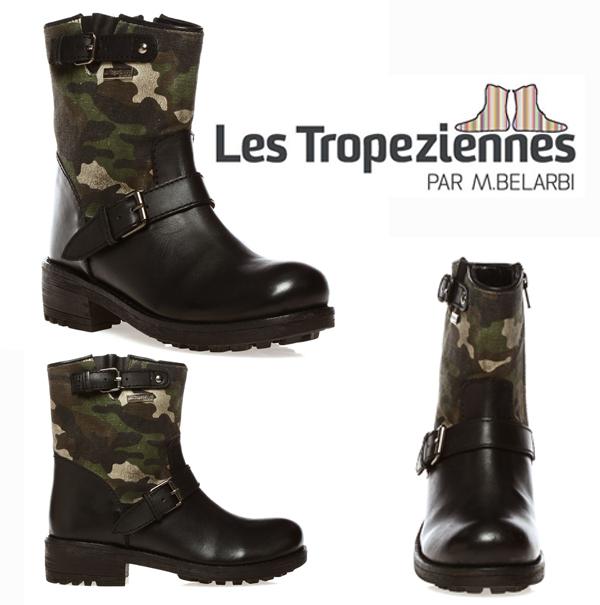 Boots imprimé militaire et cuir noir Les Tropeziennes par M.Belarbi