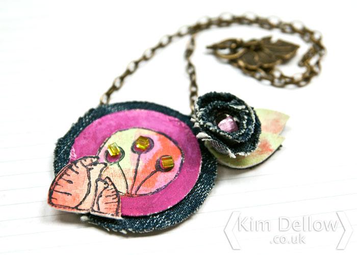 Kim Dellow Fabric Pendant Necklace for PaperArtsy