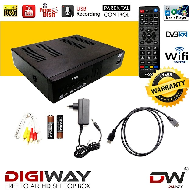 Digiway DW03 Free to Air DVB-S2 MPEG-4 FullHD Set-Top Box with YouTube, USB and Wifi