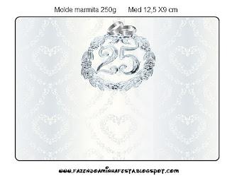 Bodas De Prata Kit Completo Com Molduras Para Convites Rótulos