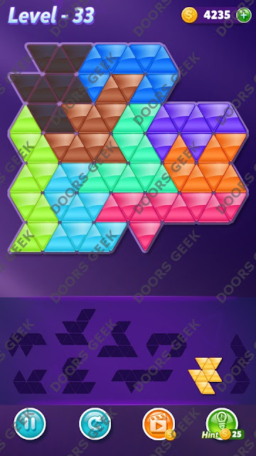 Block! Triangle Puzzle Proficient Level 33 Solution, Cheats, Walkthrough for Android, iPhone, iPad and iPod
