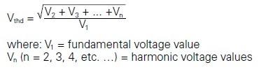 THD (for a voltage waveform formula