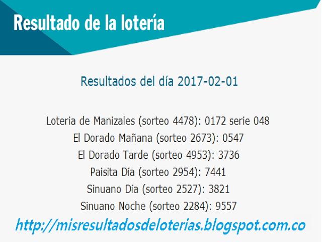 Loterias de Hoy - Resultados diarios de la Lotería y el Chance - Febrero 01 2017