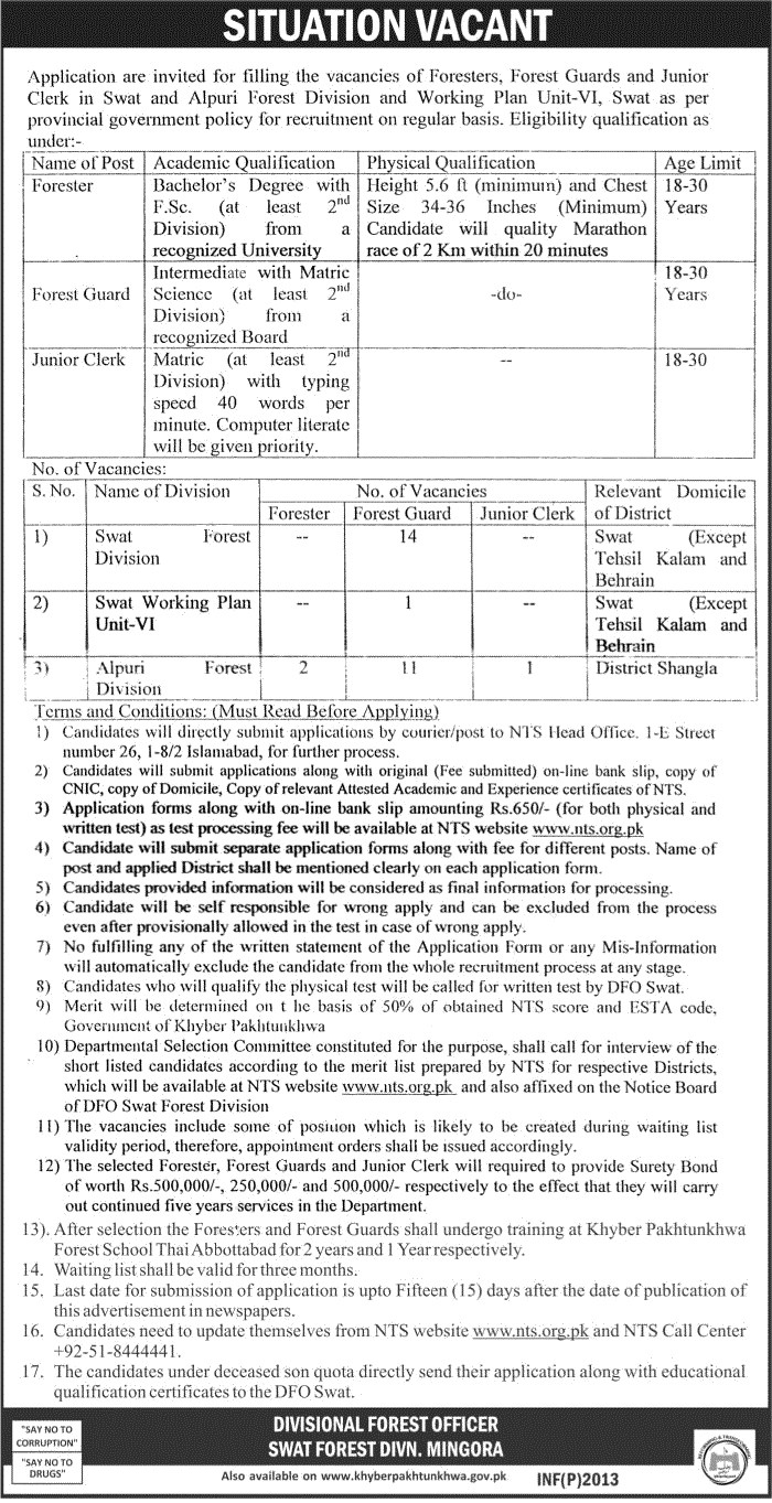 Jobs In Divisional Forest Officer Swat  Download 4 May 2017