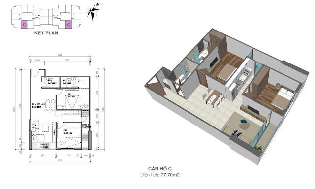 Thiết kế căn hộ loại C - 77,7m2 - 2PN, 2VS chung cư Eco Dream City