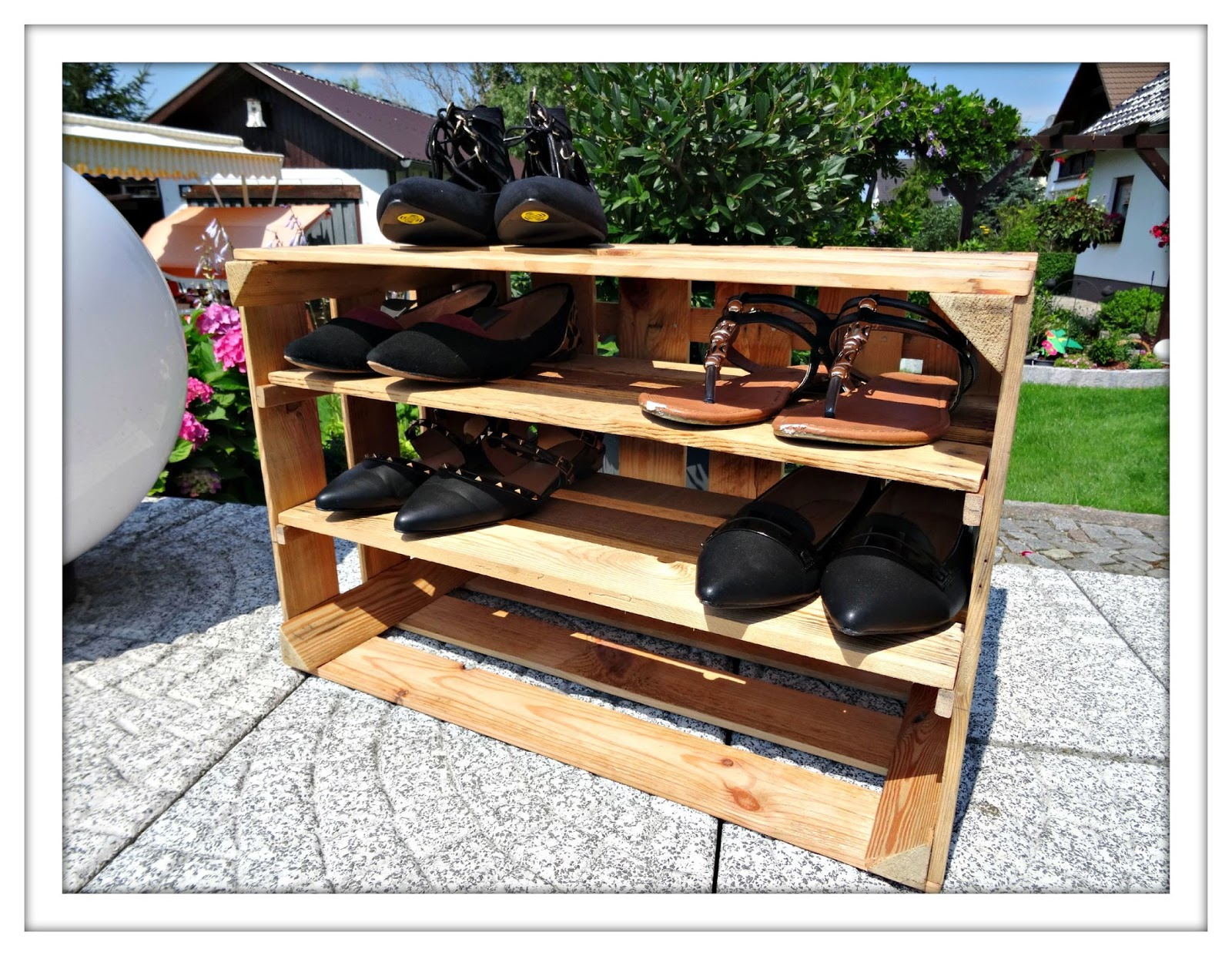 wooden crate shoe wardrobe