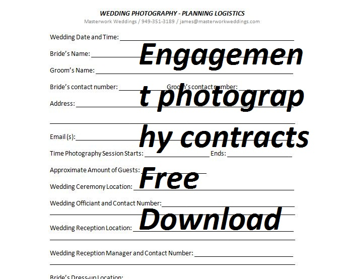 Engagement Photography Contract  sample forms in doc and pdf - photography services contract