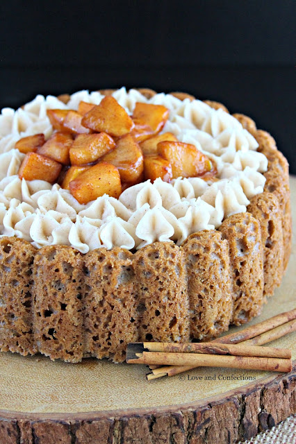 Spiced Apple Cider Charlotte Cake from LoveandConfections.com #AppleWeek #sponsored