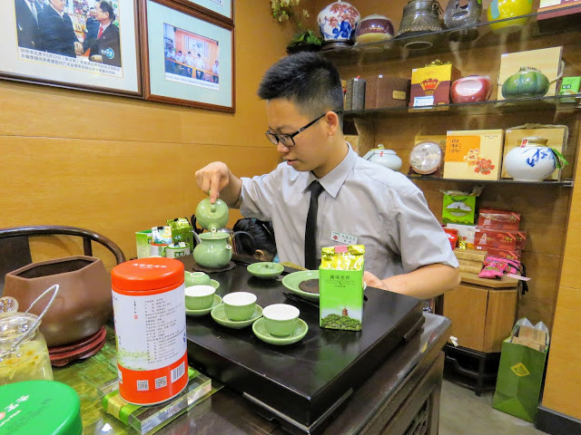 Tea tasting at a shop in Hangzhou China