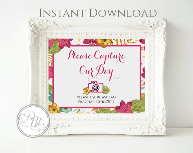tropical watercolour capture our day sign pink hibiscus-island wedding-by rbh designer concepts