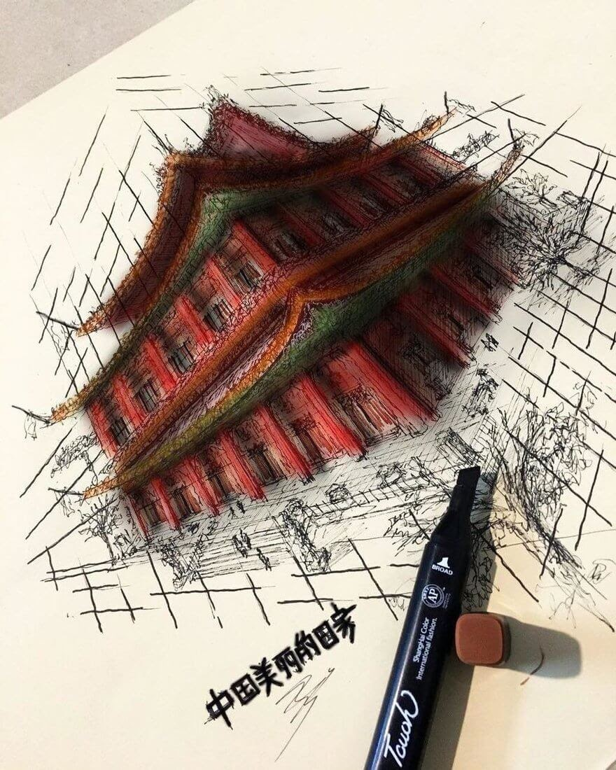 05-Chinese-Architecture-Erfan-Hasankhani-Ink-and-Color-Architectural-Drawings-www-designstack-co