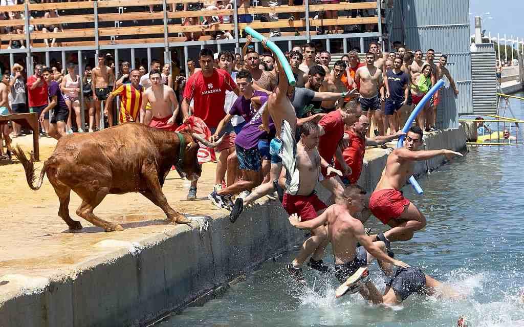 Люди і молодий бик
