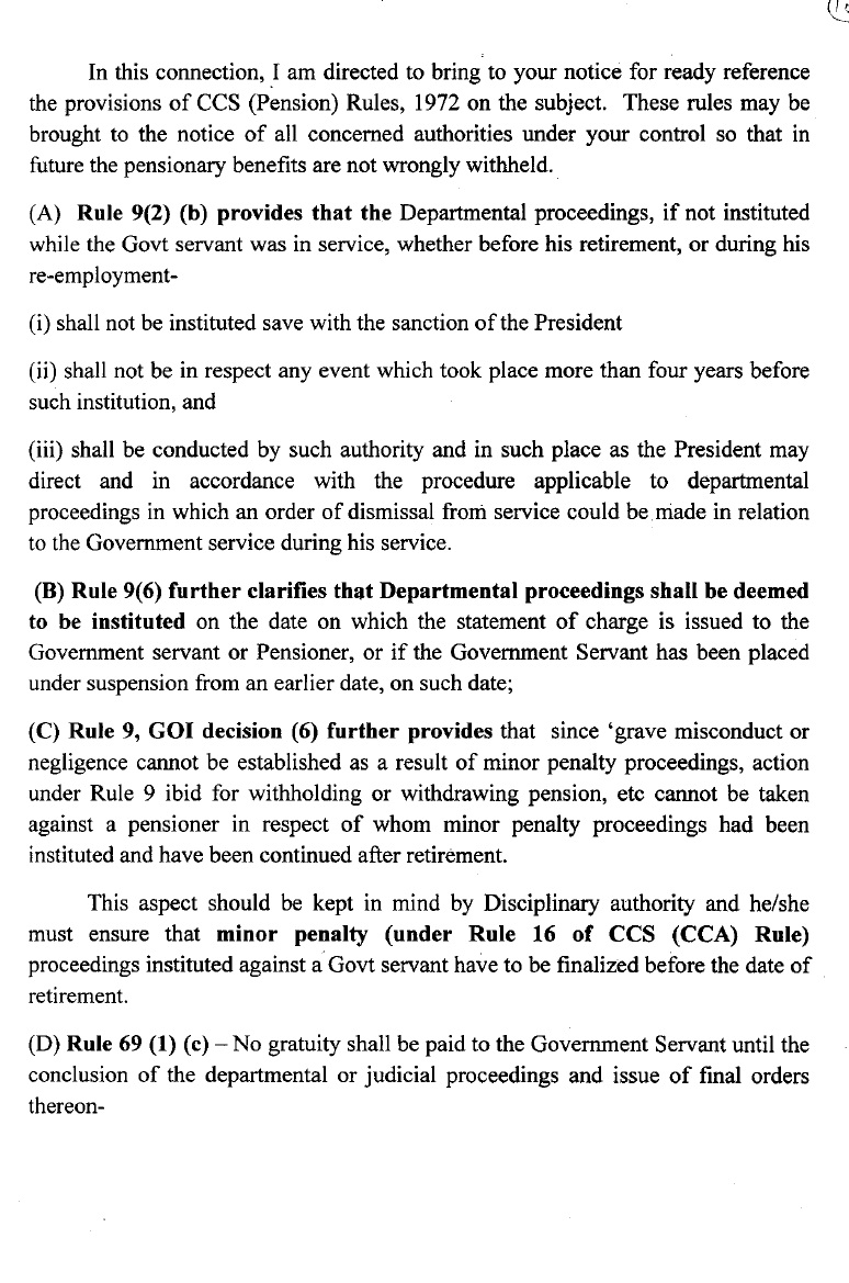 Clarification on Irregular withholding of Gratuity/pensionary benefits