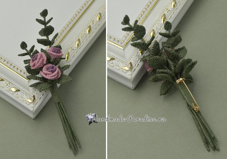 Брошь «Букетик роз» крючком. Схемы вязания (3)