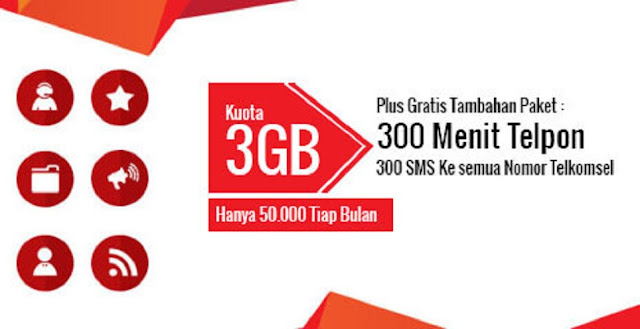 Paket 3 Combo Telkomsel | 3 GB 300 Menit Telpon dan 300 SMS