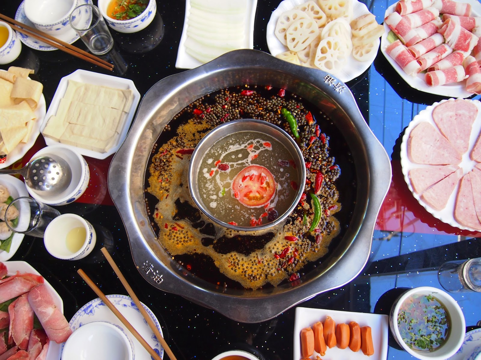 looking down at a hot pot meal in Yunnan Province