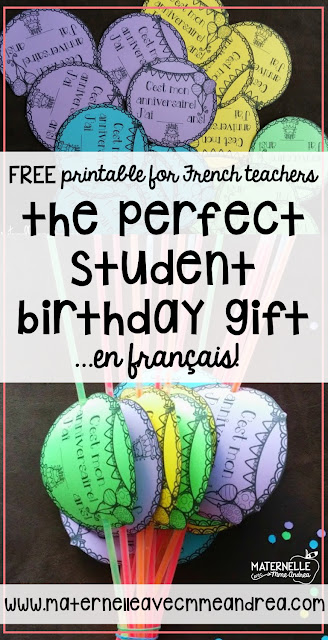Need some last-minute birthday gifts for your French primary class? Check out these instructions for the perfect, easiest, FREE student birthday gift, en français! Includes a free printable for French teachers.