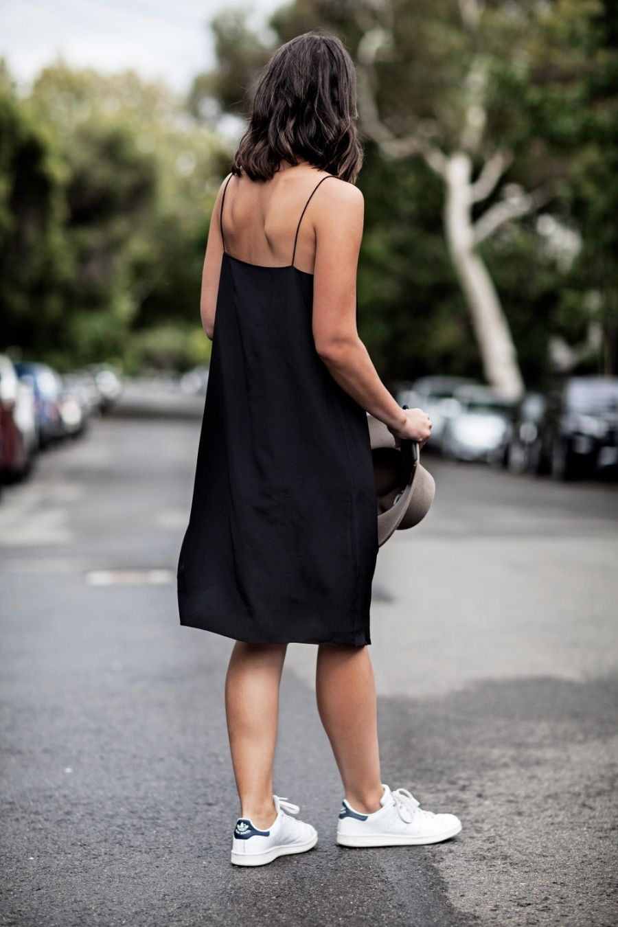 black slip dress white trainers fashion blogger ootd outfit chic