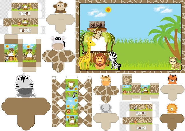Safari Babies: Invitations and Free Printable Boxes.