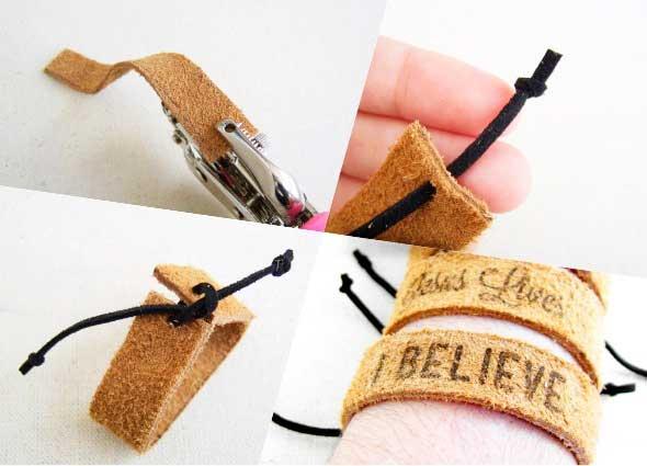 diys  leather cuffs, cuero grabado, quemador de madera