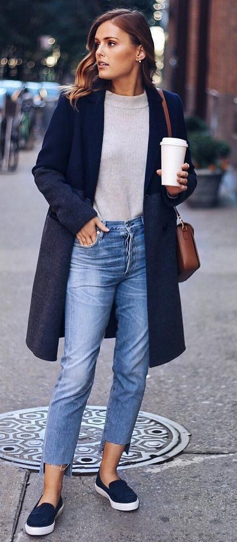casual style perfection / slip-on + coat + jeans + sweater + brown bag