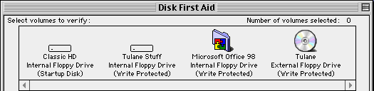 Disk First Aid multivolume CD disk descriptions in the SheepShaver environment