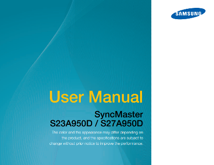 Samsung SyncMaster S23A950D / S27A950D Manual Cover