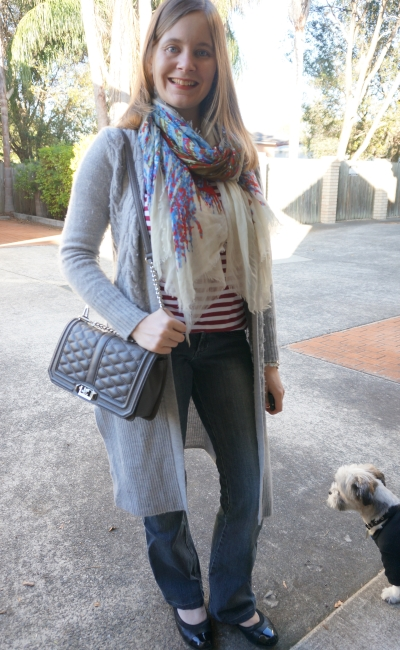 Winter print mixing stripes blanket scarf flares and wool maxi cardigan | AwayFromBlue