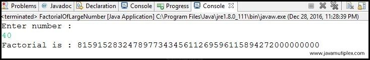 Output of Java program that calculates factorial of a very large number.