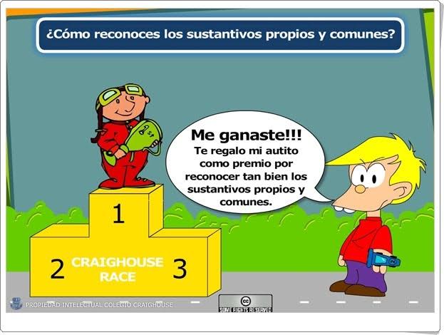 Carrera de sustantivos comunes y propios Educarchile.cl Lengua Española de 1º y 2º de Primaria