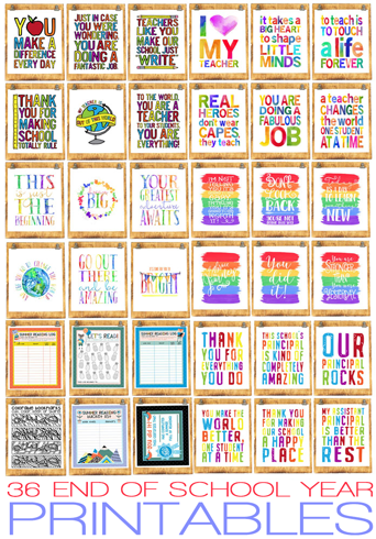 36 End-of-School Printables For Over 60% Off!